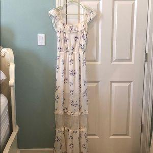 H&M Cream And Purple Floral  Maxi Dress
